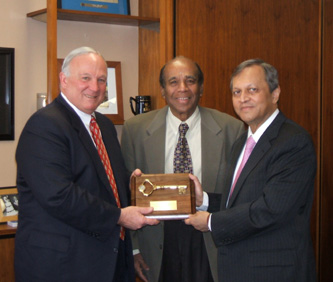 Indian Ambassador Sen with Major Sanders and Dr. Madhavan